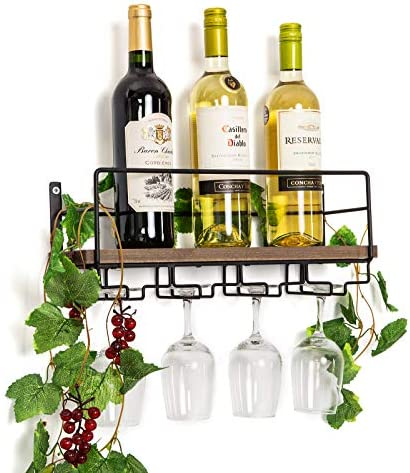Soduku Wall Mounted Rustic Wood Wine Rack with 4 Long Stem Glass Holder | Home Kitchen Décor | Storage Rack