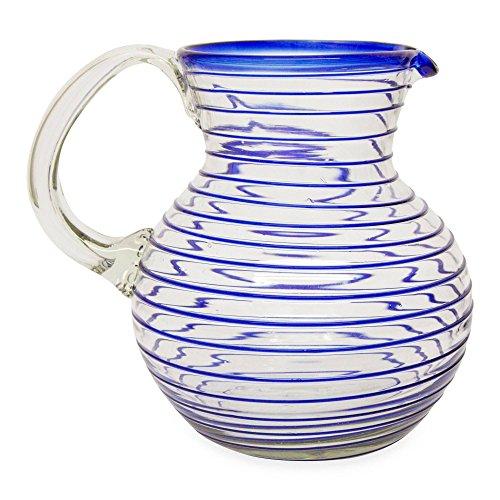 NOVICA Hand Blown Cobalt Blue Spiral Eco-Friendly Glass Pitcher, 71 oz. 'Blue Spiral' by NOVICA
