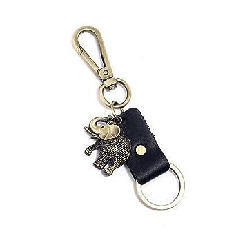 Scrox 1x Llavero Coche Metal Cadena de Clave Creativo Elefante Colgante Llaveros Moto Hombre Regalo Decoración (Negro)
