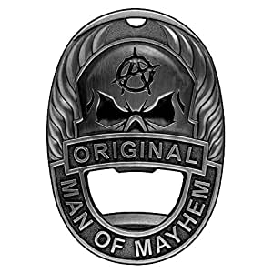 Man of Mayhem Badge Magnetic Bottle Opener With Rare Earth Fridge Magnet, Steel Money Clip, And Keychain - Clips & Sticks To Almost Anything For Maximum Convenience (Vintage Steel)