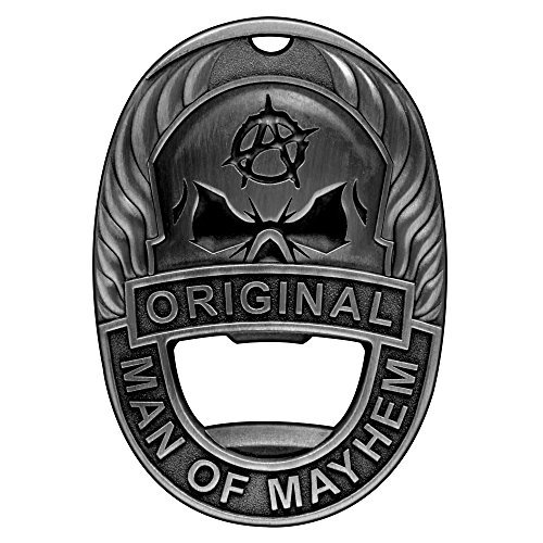 Man of Mayhem Badge Magnetic Bottle Opener With Rare Earth Fridge Magnet, Steel Money Clip, And Keychain - Clips & Sticks To Almost Anything For Maximum Convenience (Vintage - Refrigerator Magnets Fridge Womens