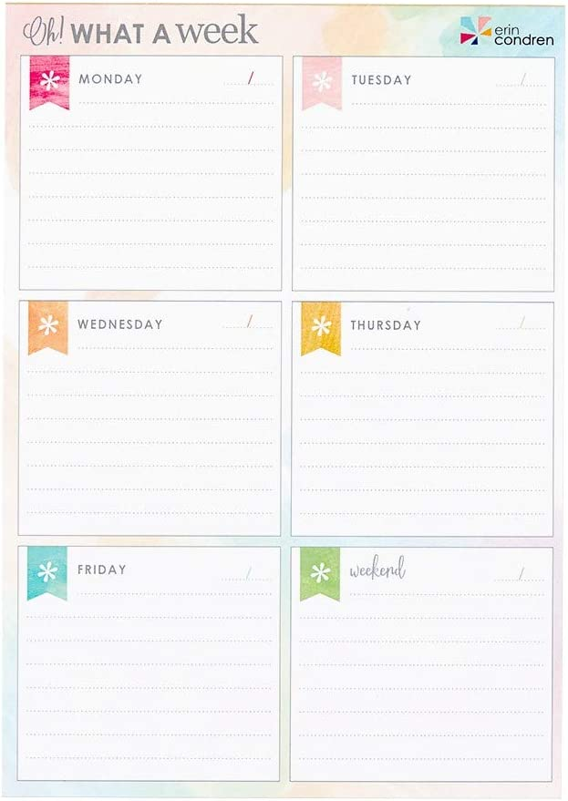 "Amazon.com : Erin Condren Designer Notepad - Oh! What a Week, Colorful  Watercolor Weekly Planning Notepad with 25 Sheets Measures 6"" x 8.5"". Daily  Organizer for to Do Lists or Groceries : Office Products"
