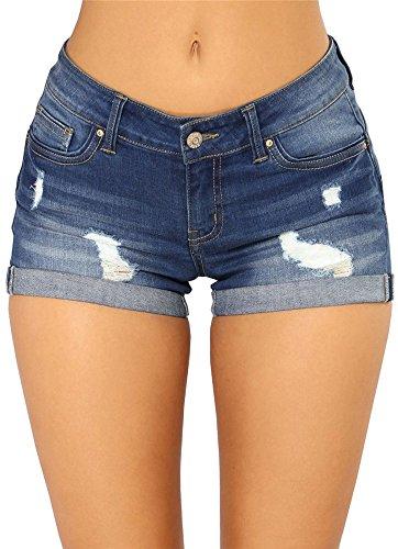 Hot Pink Denim - Women's Sexy Stretchy Fabric Hot Shorts Pants Distressed Denim Shorts