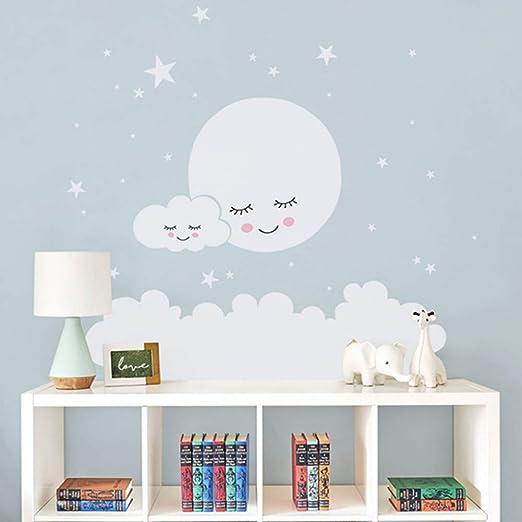 Jdhdgih Ni/ños Luna Estrellas Pegatinas de Pared Nube Nursery Pegatinas de Pared Decorativos para los ni/ños Habitaci/ón Beb/é Ni/ñas Vinilo Tatuajes de Pared Decoraci/ón para El Hogar