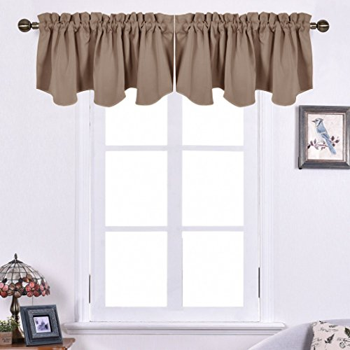 NICETOWN Blackout Valance Tiers for Bedroom - 52-inch by 18-inch Scalloped Rod Pocket Window Curtains and Draperies, Cappuccino (2-Packs)