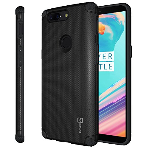 Black Ballistic Powder (OnePlus 5T Case, CoverON Bios Series Minimalist Thin Fit Protective Hard Phone Cover with Embedded Metal Plate for Magnetic Car Mounts - Black)