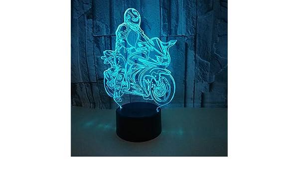 BFMBCHDJ Creative Ride Motorcycle Model Illusion Lámpara 3d LED 7 Cambio de color Sensor táctil USB Lámpara de mesa de escritorio Luz nocturna USB: Amazon.es: Iluminación