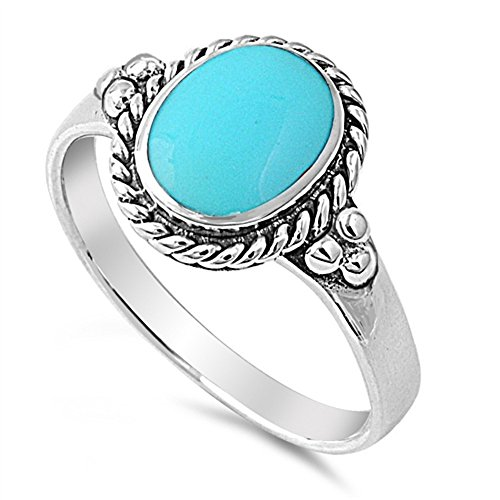 Oval Simulated Turquoise Stone Rope Ring Sterling Silver Size 7
