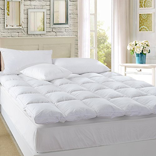 Premium Quality Luxury Hypoallergenic White Goose Down and Feather Mattress Pad Mattress Topper Baffled Bed Overfilled-All Season,Queen Size 60x80inches by ROSE FEATHER