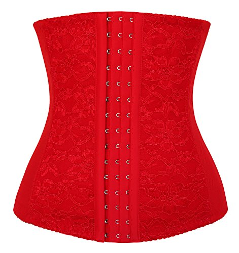 (Charmian Women's Lace Underbust Waist Training Steel Boned Shapewear Corset Red XXX-Large)