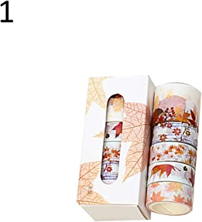 puran 5 Rolls Flower Leaves Washi Paper Tape Set Scrapbook Album Decoration Stationery Gift