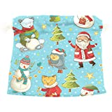 Dragon Sword Christmas Santa Polar Bear Snowman Owl Gift Bags Jewelry Drawstring Pouches for Wedding Party, 5.5x5.5 Inch