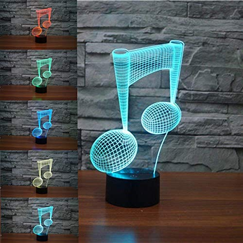3D Musical Music Note Night Light 7 Color