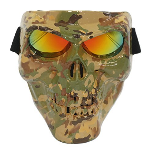 Vhccirt Halloween Spooky Decor Protective Gear Skull/Grim Reaper/Zombie Face Adjustable Helmet Band Airsoft Paintball Motorcycle Racing Mask Jungle Camouflage Yellow Lenses
