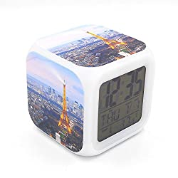 EGS New Eiffel Tower Night Paris City View Digital Alarm Clock Desk Table Led Alarm Clock Creative Personalized Multifunctional Battery Alarm Clock Special Toy Gift for Unisex Kids Adults