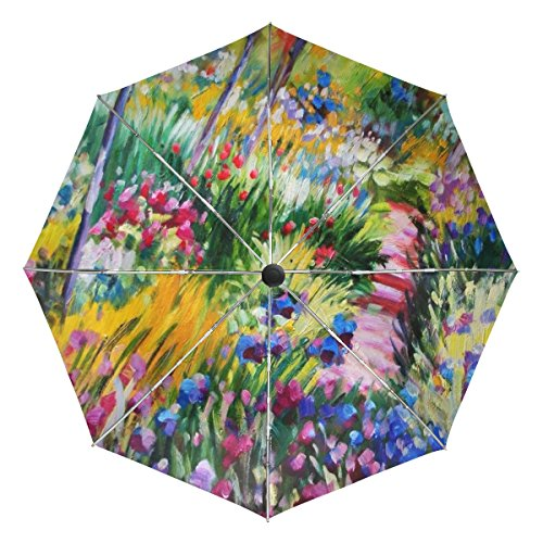 BAIHUISHOP Monet Painting Windproof Umbrellas Auto Open Close 3 Folding Golf Strong Durable Compact Travel Umbrella Uv Protection Portable Lightweight Easy Carrying and Slip-Proof Handle