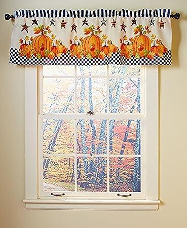 Primitive Pumpkin U0026 Stars Fall Autumn Bathroom Shower Curtain Bath Decor  (valance)