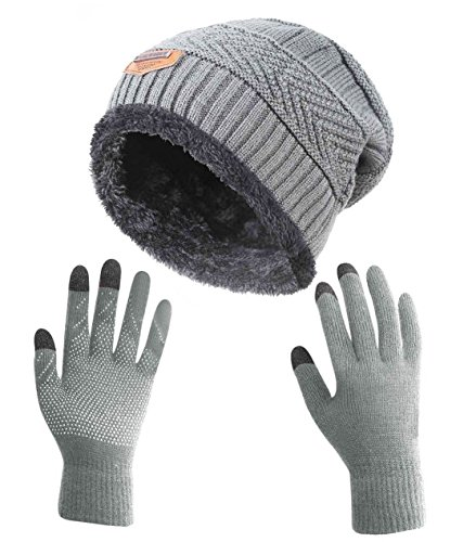 HindaWi Winter Gloves Slouchy Beanie for Women Knit Warm Hat Skull Cap Touch Screen Mittens Grey by HindaWi