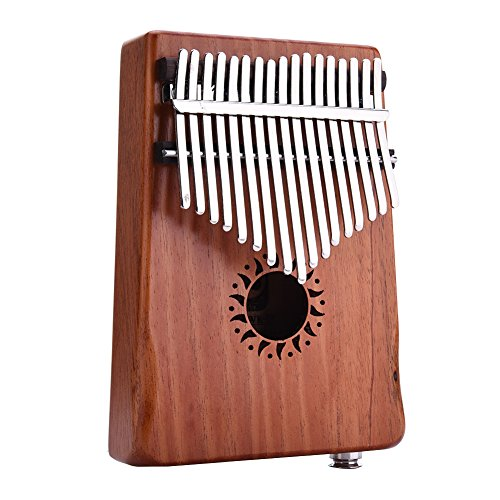 Per Natural Color 17 Keys Electric Kalimba Portable Thumb Piano Solid Finger Piano Mbira/Marimba Mahogany Body With Tune Hammer&Instruction Beginner Friendly-17key EQ kalimba by Per