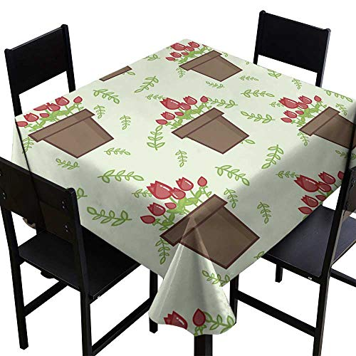 Polyester tablecloth Seamless vector pattern with pots with tulips and green leaves on light background Floral seamless background for dress manufacturing wallpapers prints gift wrap and scrapbook -