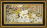 "Framed Canvas Print Wall Art A Triptych of a Wrestling Bout by Katsukawa Shunei - 10"" x 20"" Ready to Hang"