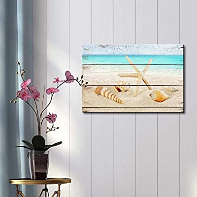 Canvas Prints Wall Art - Starfish and Seashells on The Beach with Vintage Wood Background - 12