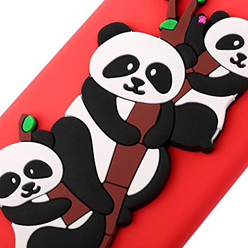 Funda para Huawei Honor 7X , IJIA Puro Rojo Adorable Panda TPU Silicona Suave Cover Tapa Caso Parachoques Carcasa Cubierta Teléfono De Vuelta Shell Case para Huawei Honor 7X Red