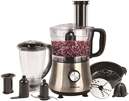 Ovente PF6007S Deluxe 8 Cup Multi-Function Food Processor with Blender, Nickel (Cooks Food Processor Lid)