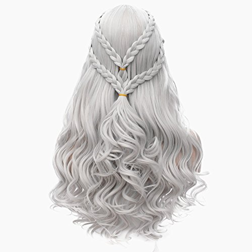 Daenerys Targaryen Cosplay Wig for Game of Thrones Long Curly Hair Wig Khaleesi Halloween Costumes (Silver Grey) BU121S -