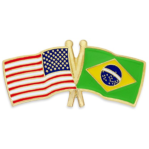 PinMart's USA and Brazil Crossed Friendship Flag Enamel Lapel Pin by PinMart