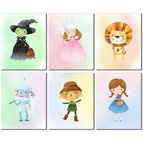 Oz Of Wizard Rating (Wizard of OZ Prints - Set of Six Kids Bedroom Nursery Wall Art Decor 8x10 Photos Dorthy Tinman Scarecrow Lion Wicked Witch Glinda Good)
