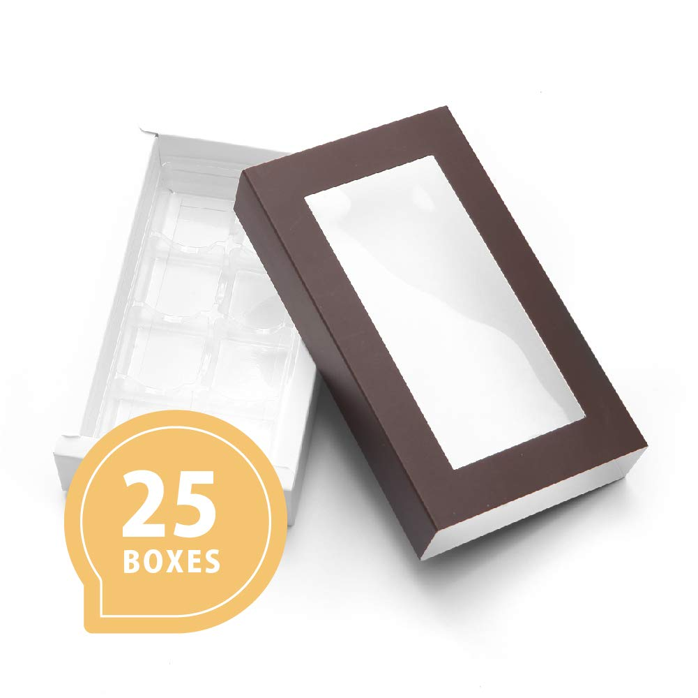 """25 PCS Truffle Boxes Chocolate Gift Box Candy Boxes for 8,(7""""x4.05""""x1.35"""") Pull Out Packing with Clear Window Sleeves and Removable Tray/Chocolate"""