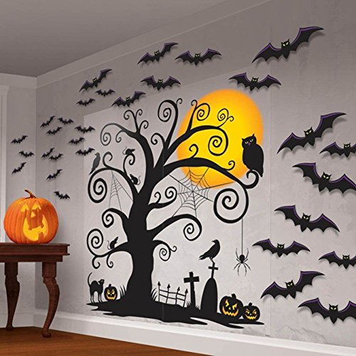 (funky pumpkin Halloween Mega Party Creepy Tree Scene Setter Silhouette Art Decoration)