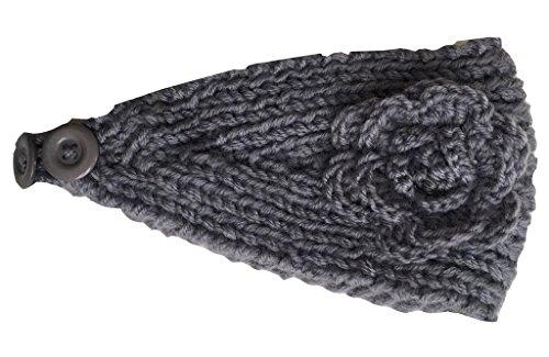PoshNPretty Plush Classic Blossom Crochet Flower Knitted Headband Headwrap - One Size - -