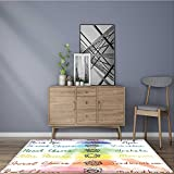 Rug Easy to Clean, Durable Brushstroke Inspired Lotus Pose Spots in the Body Faith and Harmony Comfort at Home, Office 24''x40''