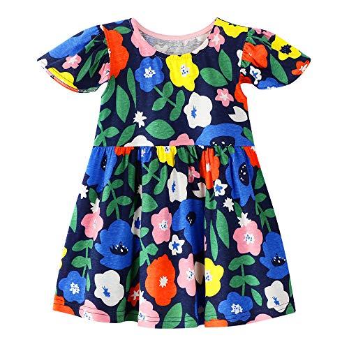 Little Girls Short Sleeve Dress Ruffle Floral Skirt Cotton Clothing for Toddler 7t