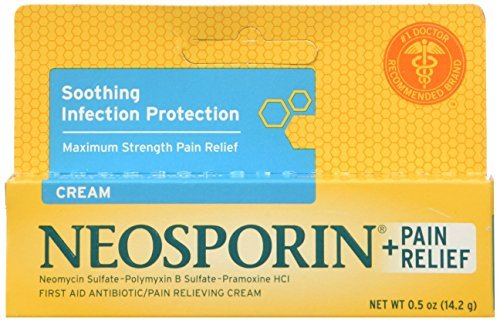 (Neosporin Plus Pain Relief First Aid Antibiotic/Pain Relieving Cream, Maximum Strength 0.5-Ounce Tubes (Pack of 4) by Neosporin)