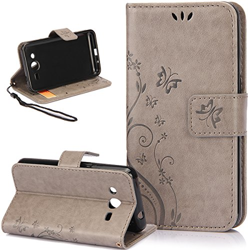 (Galaxy Avant Case,Galaxy Core LTE Case,NSSTAR Butterfly Flower PU Leather Fold Wallet Pouch Wallet Flip Stand Credit Card ID Holders Case Cover for Samsung Galaxy Core LTE G386F/ Avant G386T,Gray)