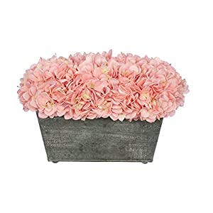 House of Silk Flowers Faux Hydrangea in Galvanized Metal Rectangle 18