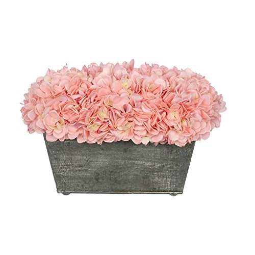 (House of Silk Flowers Artificial Hydrangea in Galvanized Metal Rectangle (Baby Pink))