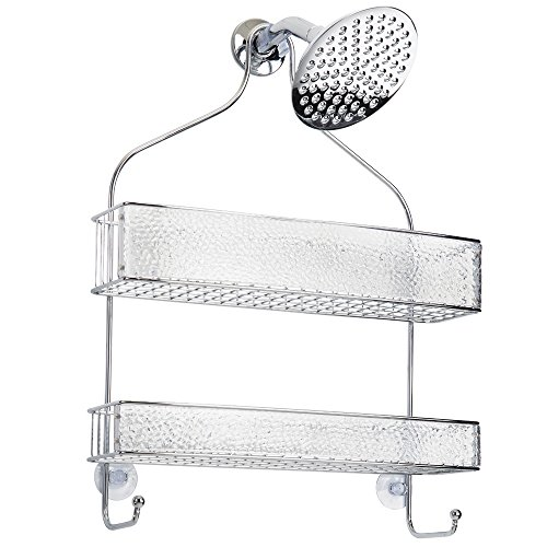 InterDesign Rain Hanging Shower Caddy – Wide Bathroom Storage Shelves for Shampoo, Conditioner and Soap, Clear/Chrome by InterDesign