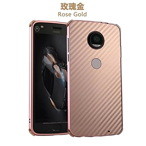 Price comparison product image Moto Z Case,DAMONDY Luxury Carbon Fiber Design Ultra thin Imitation Metal Brushed Premium Aluminum Shockproof Protective Bumper Hard Back Case Cover for Motorola Moto Z / Z Droid Edition -Rose