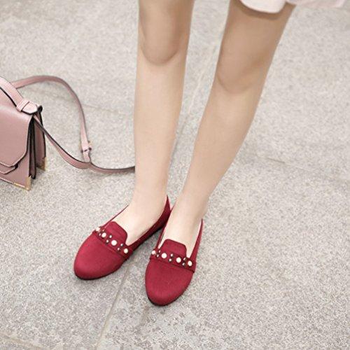 YOUJIA Damen Slip On Runde Zehenkappe Pumps Flat Mokassin Summer Flache Schuhe mit Perlen Rot