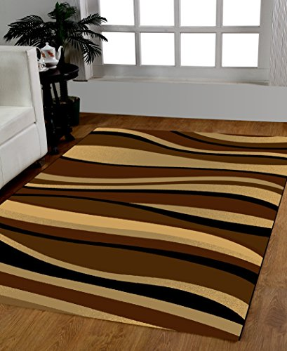 HomeDora 5 feet by 7 feet Decorative Shade of Brown & Black Area Rug Designer's choice Extremely Durable Stain Resistant Smooty Cozy Pet Friendly, Impressed Rich Color