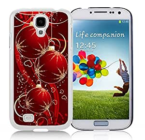 Galaxy S4 Case,Red Snowflakes Christmas Decoration Christmas Series-TPU White S4 Protective Case,Samsung S4 I9500 Case
