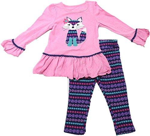 Kids Headquarters Girls Size 2T  LS Fox Top & Floral Legging