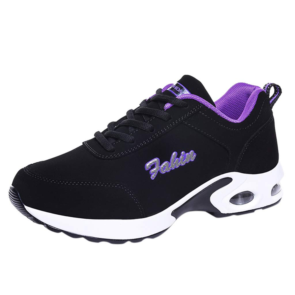 TIFENNY Air Cushion Fashion Sneakers for Women Suede Outdoor Sport Shoes Running Lace-Up Shoes Student Sneakers Purple by TIFENNY_Shoes