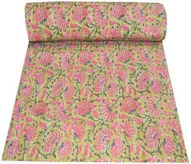 Indian Kantha quilt Handmade indian Bedsheet handstitched Queen 90X108 Bedspread Blanket Throw Pure Cotton