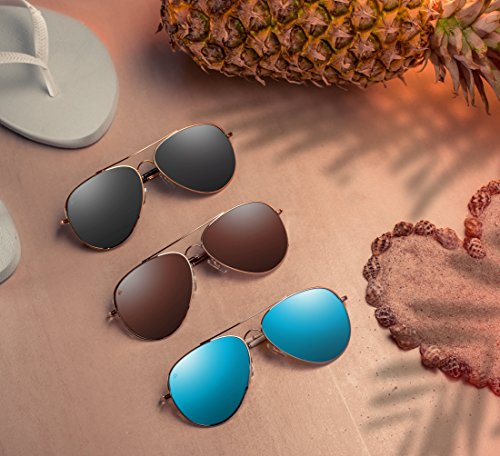 PRIVÉ REVAUX Places We Love Collection''The Cali'' Polarized Handcrafted Designer Aviator Sunglasses (Gold/Smoke) by PRIVÉ REVAUX (Image #2)