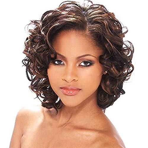 KUNMEI Dark Brown Wigs for Women African American Wigs Short Big Curly Wigs Heat Resistant Synthetic Full Hair Wigs for Party Daily Use With Wig Cap (Dark Brown) CM032